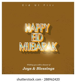 Wishing you with a shower of Joys & Blessings - Islamic Typography of text Happy Eid Mubarak for Muslim Community festival Eid - Islamic greeting card Vintage background