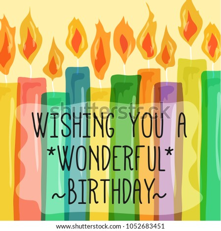 wishing you a wonderful birthday quote text with colorful candle illustration