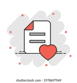 Wishlist icon in comic style. Like document cartoon vector illustration on white isolated background. Favorite list splash effect business concept.