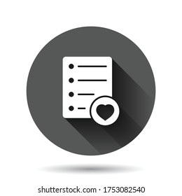 Wishlist icon in flat style. Like document vector illustration on black round background with long shadow effect. Favorite list circle button business concept.