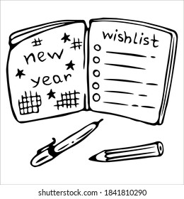 Wishlist notebook. Plans for the new year. Single doodle vector illustration. Hand drawn.