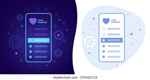 Wishlist vector concept with black and white background, dark ultra violet neon glowing thin icon and light-blue illustration. Smart phone with a checkmarks list of favorite wish items and heart icon.