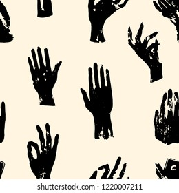 Witch black hands pattern. Repeated vector illustration.