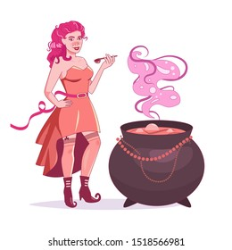 Witch brews a potion. Pin up style. Boots with curved noses Vector. Cartoon. Isolated art on white background.