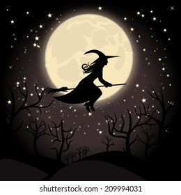 Witch with a broom