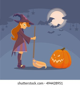 Witch with a broom and a big hat met pumpkin. Pumpkin with glowing eyes and mouth. In the night sky shines the moon, clouds and stars, bats. Halloween.