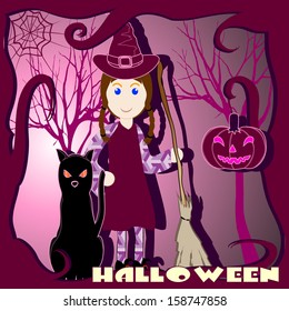 witch with broom, cat, and pumpkin in a picture frame