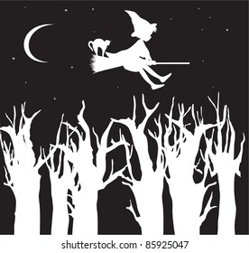 Witch and cat flying on broom above trees silhouette