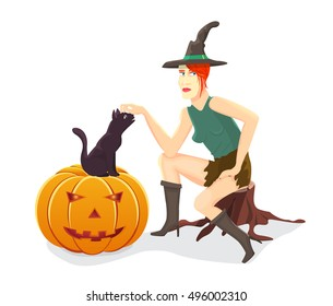 Witch, cat and Halloween pumpkin.Vector illustration.