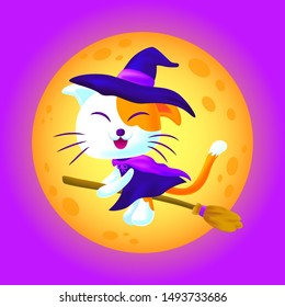 Witch cat ride a magic broom with full moon background. Cute cat ride a broom in halloween night.