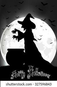 The witch cooks on the full moon. vector