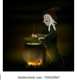 witch cooks a potion in a pot on Halloween
