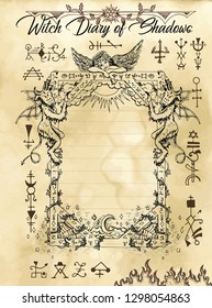 Witch diary page 10 of 31 with gothic frame, devil, angel and evil dark symbols. Magic wiccan old book with occult illustration, mystic vector background