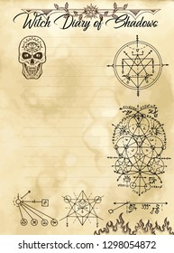 Witch diary page 16 of 31 with occult sacred geometry symbols, evil seals and weird skull. Magic wiccan old book with occult illustration, mystic vector background