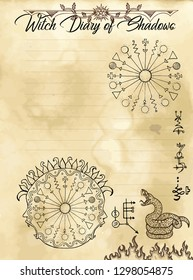 Witch diary page 19 of 31 with solar magic round signs, mystic symbols and snake. Magic wiccan old book with occult illustration, mystic vector background