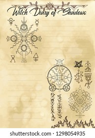 Witch diary page 25 of 31 with solar sacred geometry symbols of sun and mystic signs. Magic wiccan old book with occult illustration, mystic vector background