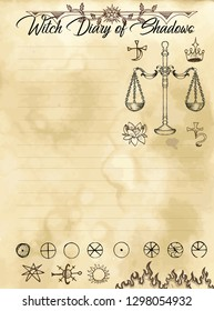 Witch diary page 26 of 31 with scales, harmony and meditation symbols, moon phases. Magic wiccan old book with occult illustration, mystic vector background