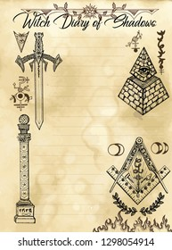 Witch diary page 31 of 31 with freemasonry and secret society symbols and signs. Magic wiccan old book with occult illustration, mystic vector background