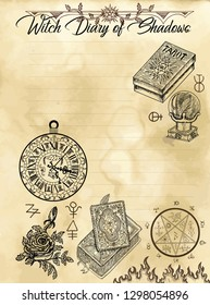 Witch diary page 4 of 31 with spell book, tarot cards, pentagram and symbols. Magic wiccan old book with occult illustration, mystic vector background
