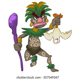 witch doctor cartoon vector character