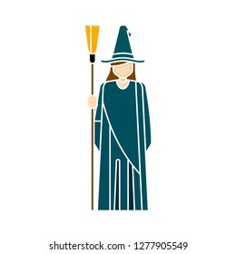 witch dress icon - witch silhouette isolated, halloween illustration - halloween Vector