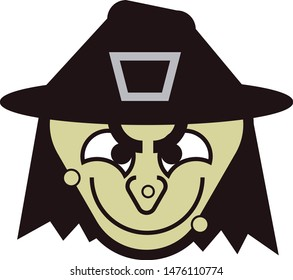 Witch face. Monster. Cartoon. Halloween. Vector illustration. Black and green.