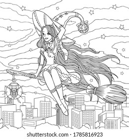 Witch flies on a broom at night city. Coloring book page for adult. Girl in helloween costume with witch hat and with lantern is among stars. Vector hand drawn illustration with doodle elements.