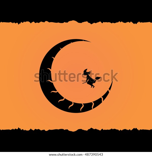 Witch Flying On Broom Over Scratched Stock Vector (Royalty Free
