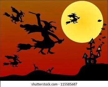 Witch flying on Halloween/Halloween night