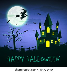 Witch flying on a magic broomstick over the spooky haunted castle with full moon in background with word happy halloween, halloween night background