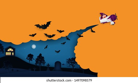 Witch flying in a plane, Halloween night over with tomb in the background