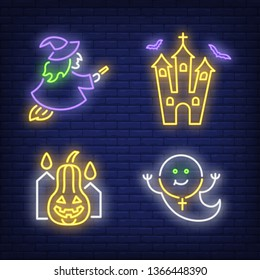 Witch, ghost, castle and pumpkin neon signs set. Halloween party invitation design. Night bright neon sign, colorful billboard, light banner. Vector illustration in neon style.