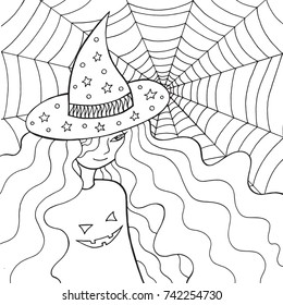 Witch girl in the hat and web. Doodle coloring page for adults about halloween. Vector illustration.