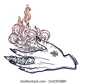 Witch gothic hand with fire flames with black nails, claw ring and tattoo. Magic. Boho style set. Halloween isolated illustration.
