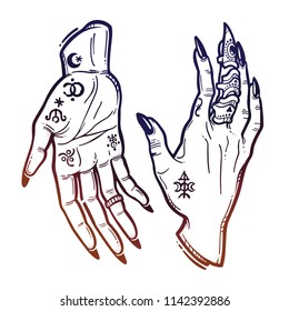 Witch gothic hands in different gestures with black nails, rings. Magic. Boho style set. Halloween isolated illustration.