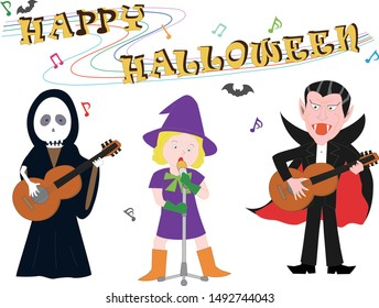 Witch, Grim Reaper and Vampire are holding a concert on Halloween Day.
