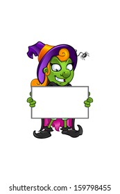 Witch - Grinning Holding A Board