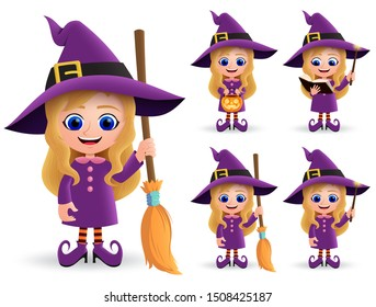 Witch halloween character vector set. Female cute witch characters happy standing and holding broomstick wearing halloween costume and magic wand isolated in white background. Vector illustration.