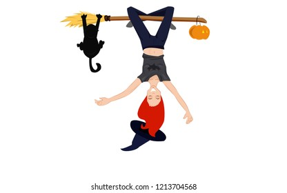Witch hanging on broomstick
