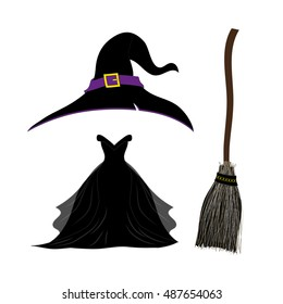 Witch Hat . Black Witch Dress. Witch Broom. Halloween Costume Set. Vector Illustration. isolated on white background