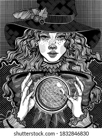 witch in the hat casts a spell with a magic crystal ball