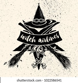 Witch hat with gogles and two crossed broomsticks. Logo emblem or t-shirt print
