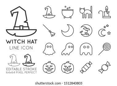 Witch hat Halloween line icon set. Magic potion pot, black cat, candle, broom, crescent, moon with bats, stars at night, ghosts, lollipop, pumpkins, candies collection. Editable stroke vector.