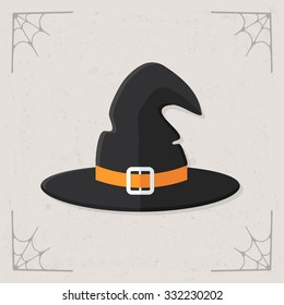 Witch hat icon. Vector flat illustration