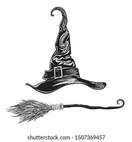 Witch hat and magic broom. Halloween stickers. Set of vector illustrations for all saints ' day. Attributes of magical power, coven, witchcraft, magic. Mystical Tattoo witchcraft. Print. Souvenirs.