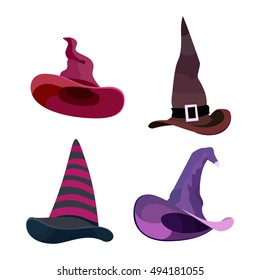 Witch hats halloween with straps and buckles set halloween. Vector halloween illustration isolated on white background. halloween clothing sign, halloween dress witch