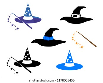 Witch hats and wizard hats with magic wand vector illustration