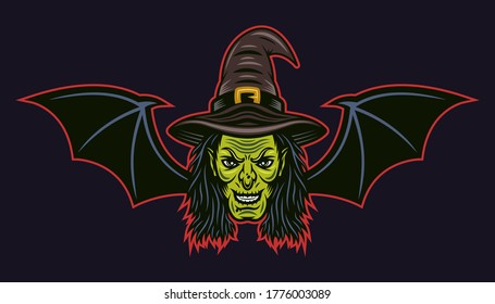 Witch head with bat wings vector colored cartoon style illustration isolated on dark background