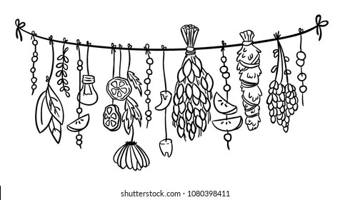 Witch herbs boho hanging doodle decoration