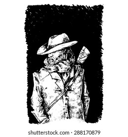 Witch hunter / demons / monsters / vampires. Black and white sketch of a man. Wild west Gunslinger. Handsome man in cowboy clothes. Portrait of a man wearing a cowboy hat.